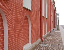 Rote Ziegelstein-Wand Stockfoto