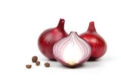Rote Zwiebel auf weißem Hintergrund Stockbilder