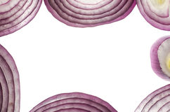 Rote Zwiebel in einem Schnittmakro Stockfoto