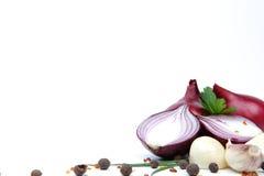 Rote Zwiebel mit dem Knoblauch und Gewürzen getrennt Lizenzfreie Stockfotos