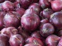 Rote Zwiebeln auf dem Markt Stockfotografie