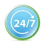 24/7 roteert natuurlijke aqua cyaan blauwe ronde knoop van het pijlpictogram vector illustratie
