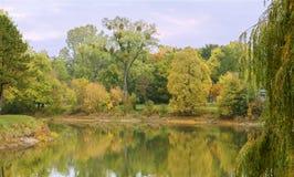 Rotehornparken, vattenlandskap, höst Fotografering för Bildbyråer