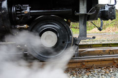 Rotella del treno del vapore Fotografie Stock
