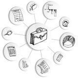 Rotella dello schema di contabilità di affari Fotografia Stock