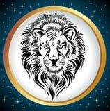 Rotella dello zodiaco con il segno di Leo. Fotografia Stock Libera da Diritti