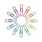 Rotella di colore dei Paperclips 3d Immagini Stock