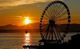 Rotella di Ferris di tramonto Fotografia Stock