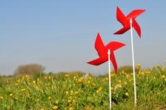 Rotella di vento rossa Immagini Stock