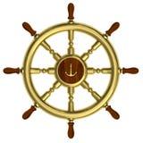 Rotella nautica dorata isolata su bianco Immagine Stock Libera da Diritti
