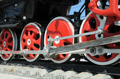 Rotelle del ferro della locomotiva Fotografie Stock Libere da Diritti