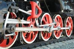 Rotelle del ferro della locomotiva Fotografie Stock