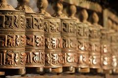 Rotelle di preghiera nepalesi Fotografia Stock