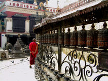 Rotelle di preghiera, Swayambhunath Stupa, Kathmandu Fotografia Stock Libera da Diritti