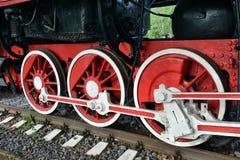 Rotelle di vecchia locomotiva di vapore Fotografia Stock