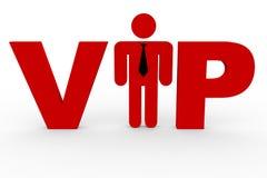 Roter 3D Text VIP. Mann, der i-Zeichen ersetzt. Stockbild