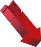 Roter abbrechender Pfeil Lizenzfreies Stockfoto