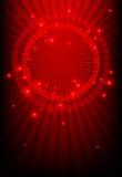 Roter abstrakter Hintergrund mit glühenden Leuchten Stockfotografie