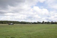 Roter Ackerschlepper auf einem landwirtschaftlichen Gebiet mit einem bewölkten Himmel lizenzfreie stockbilder