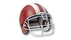 Roter amerikanischer Football-Helm, Sportausrüstung lokalisiert auf Weiß Lizenzfreies Stockfoto