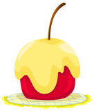 Roter Apfel abgedeckt im Karamell lizenzfreie abbildung