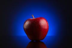 Roter Apfel auf dunkelblauem Hintergrund Stockbild