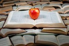 Roter Apfel auf großem Buch Lizenzfreies Stockfoto