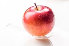 Roter Apfel auf lichtdurchlässigem Medizinlöffel Stockbild