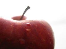 Roter Apfel auf weißen w/water Tropfen lizenzfreie stockbilder