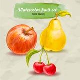 Roter Apfel, Birne und Kirsche Gezeichneter Fruchtsatz des Vektoraquarells Hand Stockfotografie