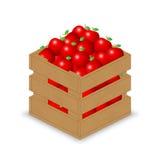 Roter Apfel in der hölzernen Kiste Lizenzfreie Abbildung