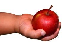 Roter Apfel in der Hand des Kindes Stockbilder