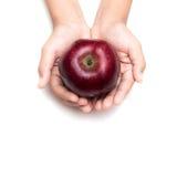Roter Apfel des Griffs auf einem weißen Hintergrund Stockbild