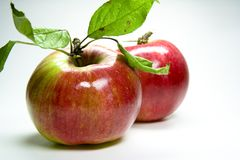 Roter Apfel. Fresh red natural apple on white Stock Photos