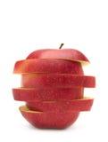 Roter Apfel getrennt auf dem Weiß Stockfotografie