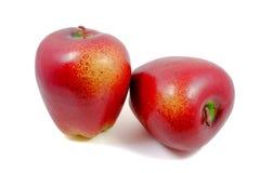 Roter Apfel lokalisiert auf weißem Hintergrund Stockfoto