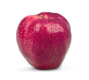 Roter Apfel mit Tropfen stockbilder