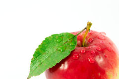 Roter Apfel mit Wassertropfen Stockfotografie
