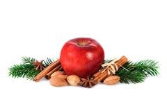 Roter Apfel mit Weihnachten würzt Dekoration Lizenzfreies Stockfoto