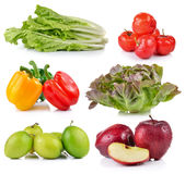 Roter Apfel, Pfeffer, Affeapfel, reife thailändische Kirsche, Kopfsalat, Gree Stockfotografie