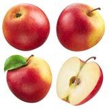 Roter Apfel und eine Hälfte. Sammlung. Mit Beschneidungspfad Stockbild