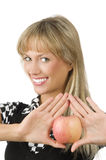 Roter Apfel und Lächeln Lizenzfreie Stockfotografie
