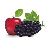 Roter Apfel und Traube lokalisiert Stockfotografie