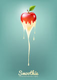 Roter Apple-Jogurt und -Smoothie melken mit Frucht, Saftkonzept, Vektor-Illustration Stockbilder