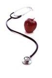 Roter Apple und ein Stethescope Lizenzfreie Stockfotos