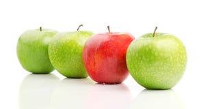 Roter Apple unter grünen Äpfeln Stockfotografie