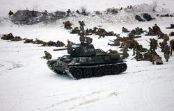 Roter Armeeangriff. Rekonstruktion des WW II, 1943 Lizenzfreies Stockfoto