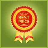 Roter Aufkleber des besten Preises auf Grün Stockbild
