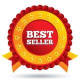 Roter Aufkleber des Verkaufsschlagers mit Sternen und Bändern Stockbild