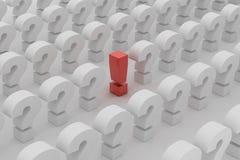 Roter Ausrufspunkt über Fragen Stockfoto